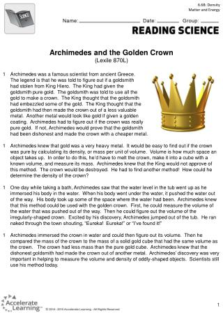 Archimedes and the Golden Crown (Lexile 870L)