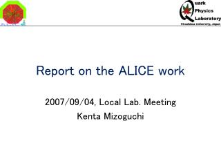 Report on the ALICE work