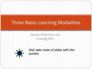 Three Basic Learning Modalities