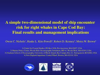 A simple two-dimensional model of ship encounter  risk for right whales in Cape Cod Bay: