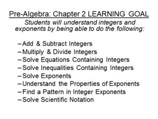 Today's Learning Goal Assignment Learn to solve equations with integers .