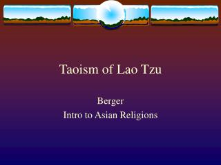 Taoism of Lao Tzu