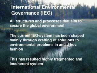 International Environmental Governance (IEG)