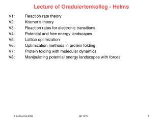 Lecture of Graduiertenkolleg - Helms
