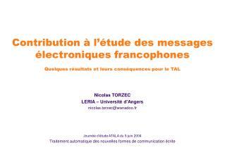 Nicolas TORZEC LERIA – Université d'Angers nicolas.torzec@wanadoo.fr