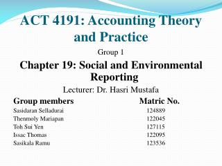 ACT 4191: Accounting Theory and Practice