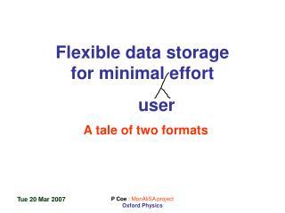 Flexible data storage for minimal effort