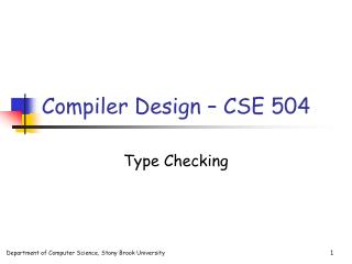 Compiler Design � CSE 504