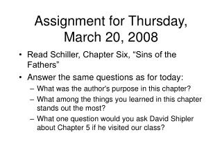 Assignment for Thursday, March 20, 2008