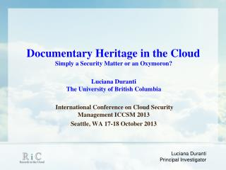 Documentary Heritage in the Cloud