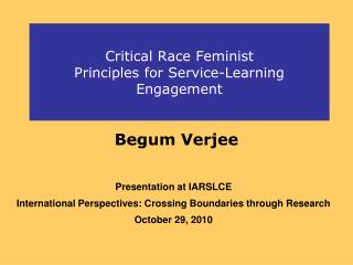 Critical Race Feminist  Principles for Service-Learning Engagement