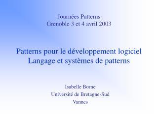 Isabelle Borne Université de Bretagne-Sud Vannes