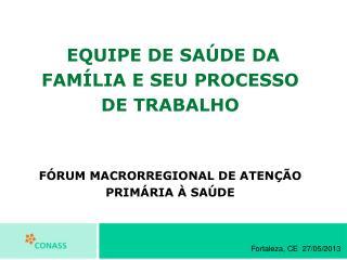 EQUIPE DE SAÚDE DA FAMÍLIA E SEU PROCESSO DE TRABALHO