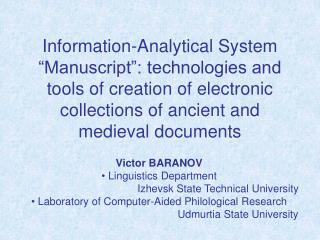 Victor BARANOV Linguistics Department Izhevsk State Technical University