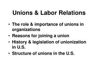 Unions & Labor Relations