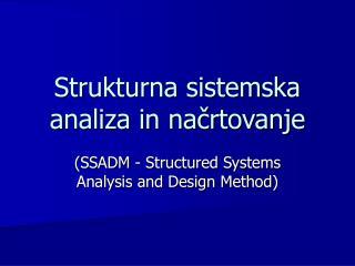 Strukturna sistemska analiza in načrtovanje