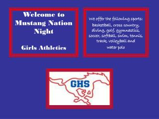 Welcome to Mustang Nation Night Girls Athletics