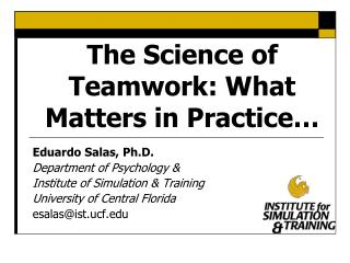 The Science of Teamwork: What Matters in Practice�