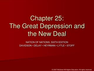 Chapter 25:  The Great Depression and the New Deal