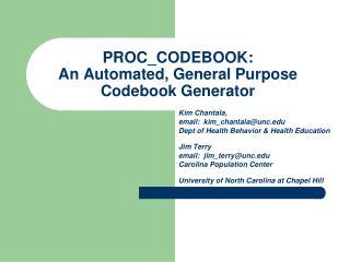 PROC_CODEBOOK:   An Automated, General Purpose Codebook Generator