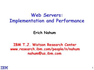 Web Servers:  Implementation and Performance
