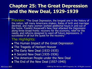 Chapter 25: The Great Depression and the New Deal, 1929-1939