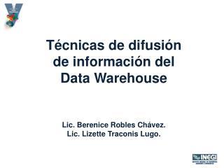 Técnicas de difusión  de información del  Data  Warehouse Lic. Berenice Robles Chávez.