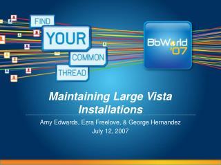 Maintaining Large Vista Installations