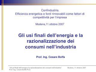 Gli usi finali dell'energia e la razionalizzazione dei  consumi nell'industria