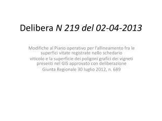 Delibera  N 219 del 02-04-2013