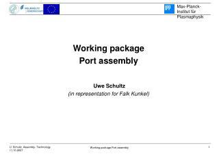 Working package Port assembly  Uwe Schultz (in representation for Falk Kunkel)