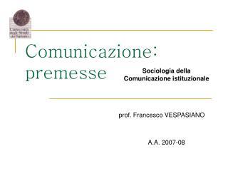 Comunicazione: premesse