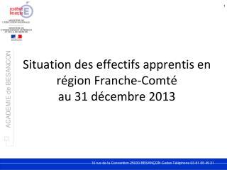 Situation des effectifs apprentis en région Franche-Comté  au 31 décembre 2013