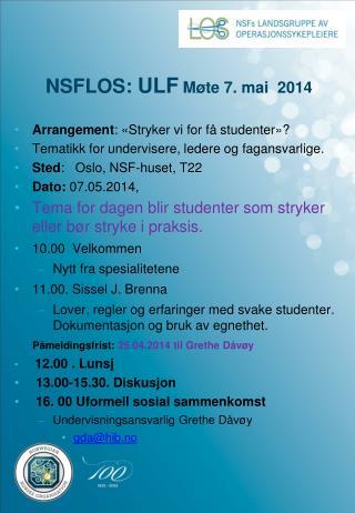 NSFLOS:  ULF  Møte 7. mai  2014