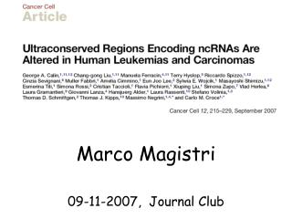 Marco Magistri 09-11-2007,  Journal Club
