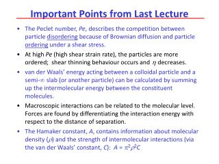 Important Points from Last Lecture