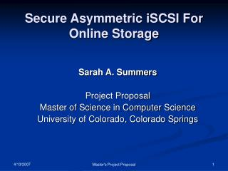 Secure Asymmetric iSCSI For Online Storage