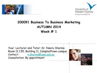200091 Business To Business Marketing AUTUMN 2014 Week # 1