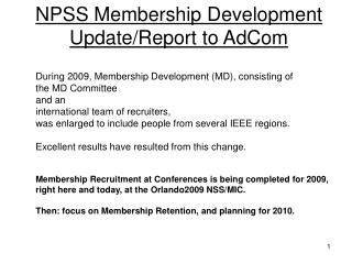NPSS Membership Development  Update/Report to AdCom