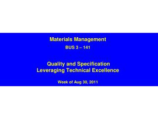 The Role of Quality  in Supply Management