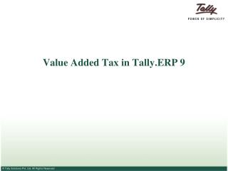 Value Added Tax in Tally.ERP 9