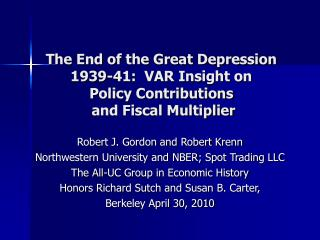 Robert J. Gordon and Robert Krenn Northwestern University and NBER; Spot Trading LLC