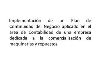 PLAN DE CONTINUIDAD DEL NEGOCIO ( BCP)