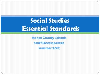 Social Studies   Essential Standards