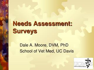 Needs Assessment: Surveys