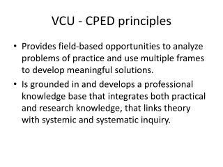 VCU - CPED principles
