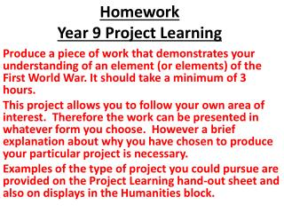 Homework Year 9 Project Learning