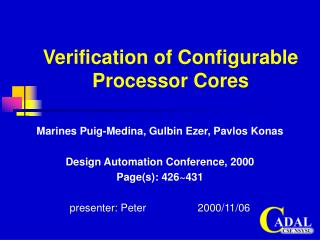 Verification of Configurable Processor Cores