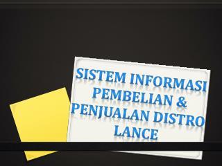 Sistem Informasi Pembelian & Penjualan Distro Lance