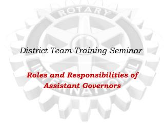 District Team Training Seminar